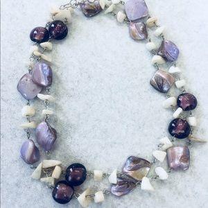 """Women's necklace lavender purple stone 17"""" Length"""